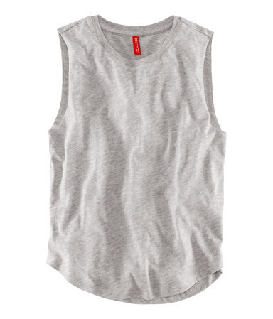 Top - neckline: round neck; pattern: plain; sleeve style: sleeveless; style: vest top; predominant colour: light grey; occasions: casual, holiday; length: standard; fibres: cotton - 100%; fit: straight cut; hip detail: dip hem; sleeve length: sleeveless; texture group: cotton feel fabrics; pattern type: fabric; season: s/s 2013