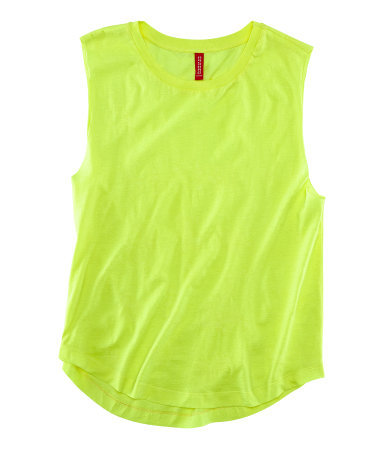 Top - neckline: round neck; pattern: plain; sleeve style: sleeveless; style: vest top; predominant colour: lime; occasions: casual, holiday; length: standard; fibres: cotton - 100%; fit: straight cut; hip detail: dip hem; sleeve length: sleeveless; trends: fluorescent; pattern type: fabric; texture group: jersey - stretchy/drapey; season: s/s 2013