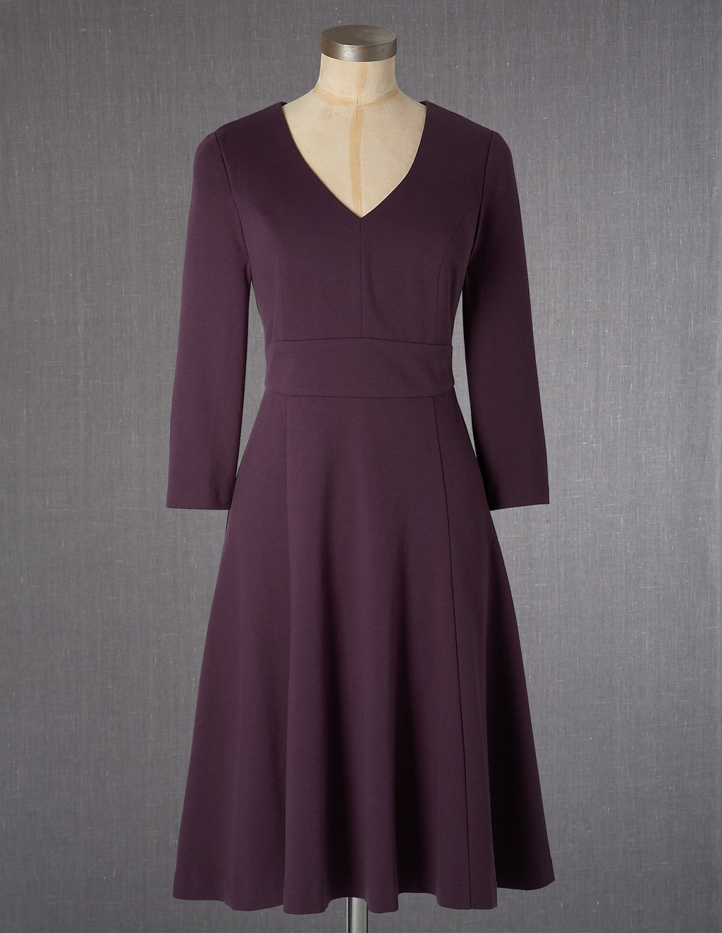 Clerkenwell Dress - neckline: v-neck; pattern: plain; predominant colour: burgundy; occasions: work, occasion; length: on the knee; fit: fitted at waist & bust; style: fit & flare; fibres: cotton - stretch; sleeve length: 3/4 length; sleeve style: standard; pattern type: fabric; texture group: other - light to midweight; season: a/w 2013