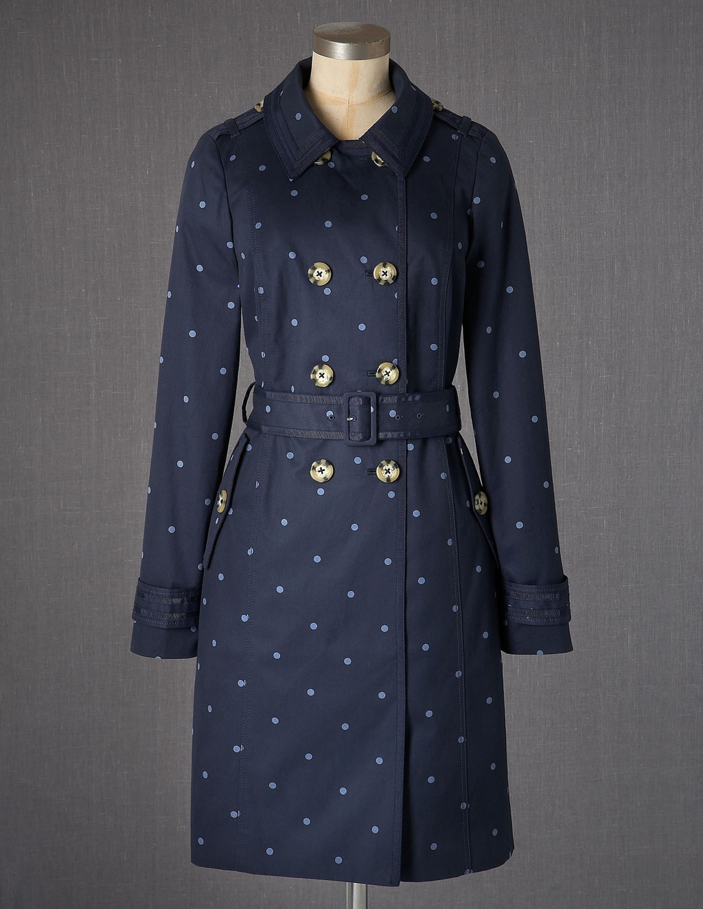Autumn Trench - style: trench coat; pattern: polka dot; length: mid thigh; predominant colour: navy; fit: tailored/fitted; fibres: cotton - 100%; collar: shirt collar/peter pan/zip with opening; waist detail: belted waist/tie at waist/drawstring; shoulder detail: discreet epaulette; sleeve length: long sleeve; sleeve style: standard; texture group: cotton feel fabrics; pattern type: fabric; pattern size: light/subtle; season: a/w 2013