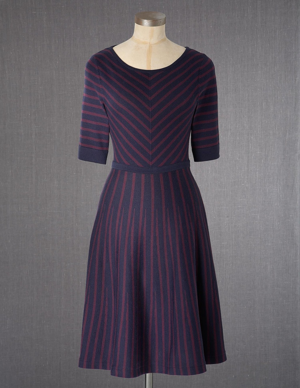 Amelie Dress - neckline: round neck; pattern: striped; secondary colour: magenta; predominant colour: navy; length: just above the knee; fit: fitted at waist & bust; style: fit & flare; fibres: wool - mix; sleeve length: half sleeve; sleeve style: standard; texture group: knits/crochet; pattern type: knitted - other; pattern size: light/subtle; occasions: creative work; season: a/w 2013