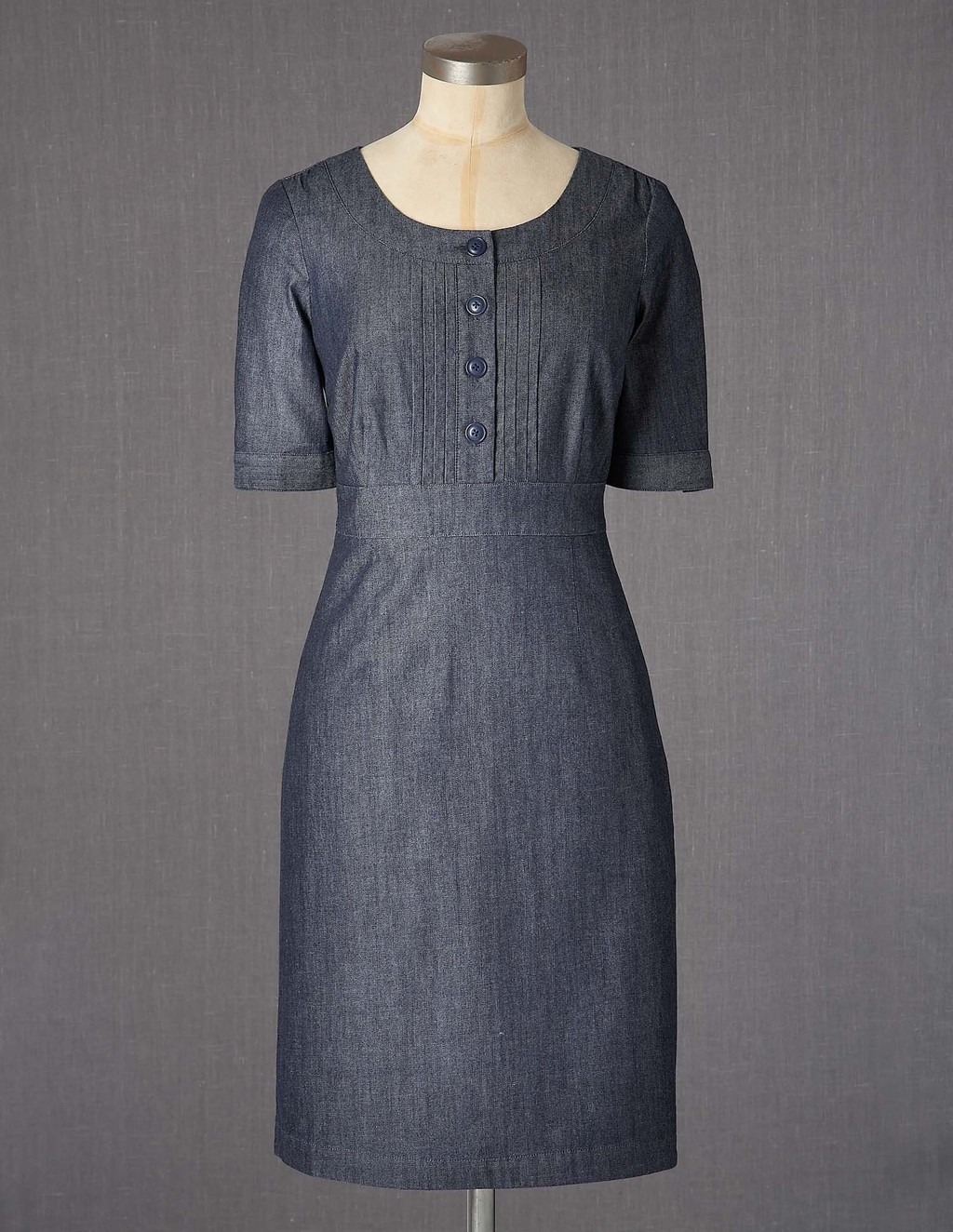 Westbourne Dress - style: shift; neckline: round neck; fit: tailored/fitted; pattern: plain; bust detail: buttons at bust (in middle at breastbone)/zip detail at bust; predominant colour: denim; occasions: casual; length: just above the knee; fibres: cotton - 100%; sleeve length: half sleeve; sleeve style: standard; pattern type: fabric; pattern size: standard; texture group: other - light to midweight; season: a/w 2013