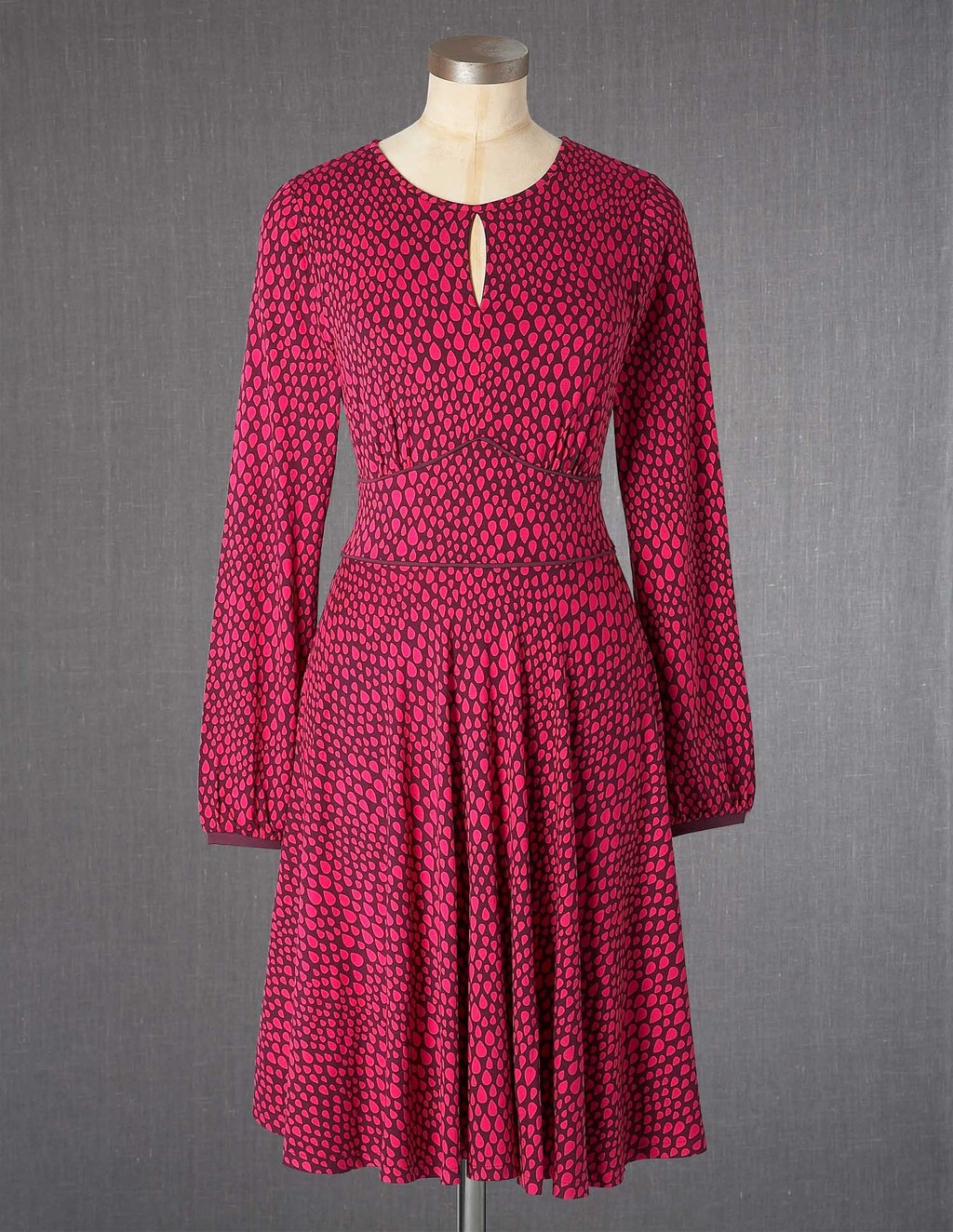 Marilyn Dress - waist detail: fitted waist; predominant colour: hot pink; secondary colour: burgundy; length: just above the knee; fit: fitted at waist & bust; style: fit & flare; neckline: peep hole neckline; fibres: viscose/rayon - stretch; sleeve length: long sleeve; sleeve style: standard; pattern type: fabric; pattern size: standard; pattern: patterned/print; texture group: jersey - stretchy/drapey; occasions: creative work; season: a/w 2013