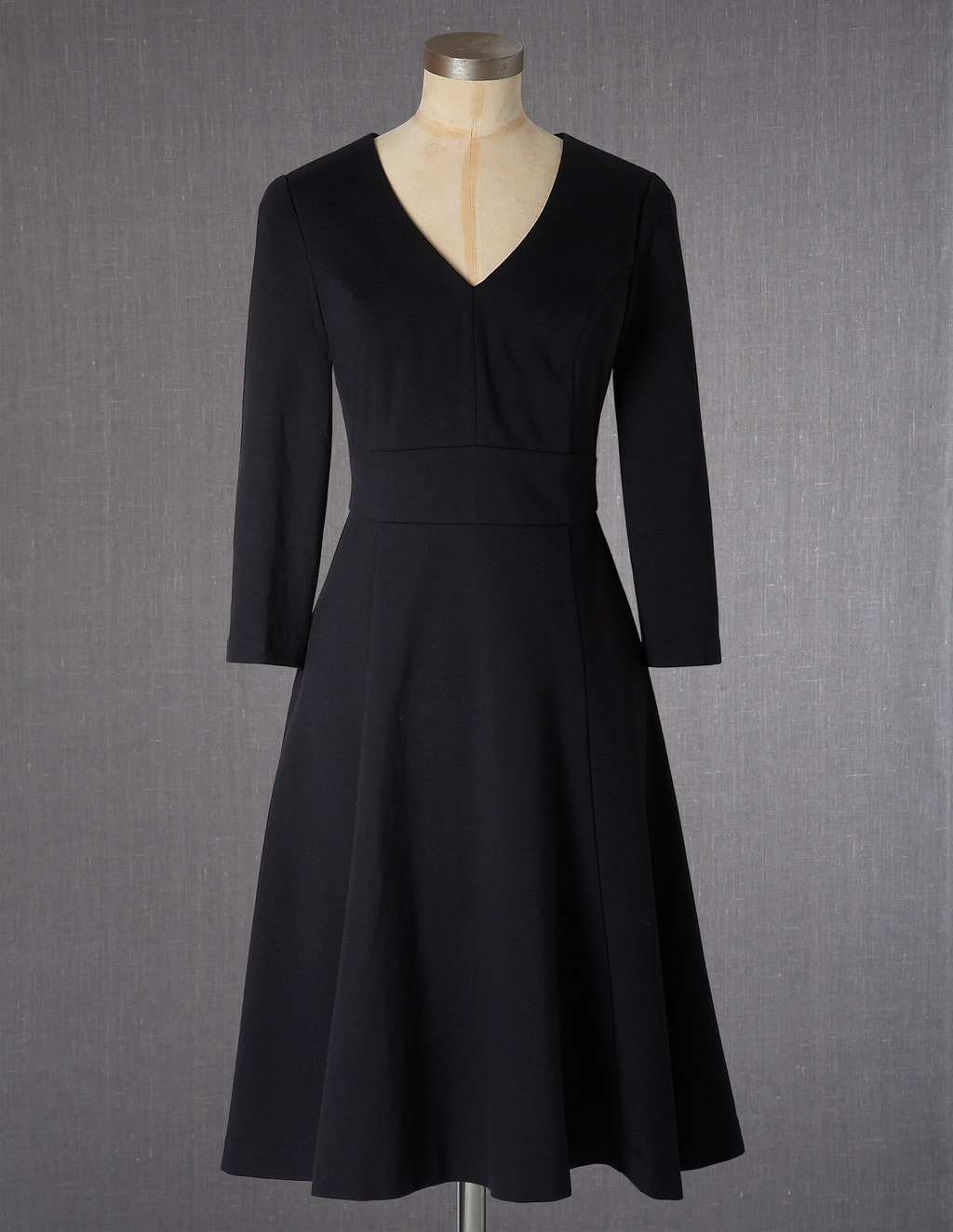 Clerkenwell Dress - neckline: v-neck; pattern: plain; predominant colour: black; occasions: evening, work; length: on the knee; fit: fitted at waist & bust; style: fit & flare; fibres: cotton - stretch; sleeve length: 3/4 length; sleeve style: standard; pattern type: fabric; texture group: other - light to midweight; season: a/w 2013