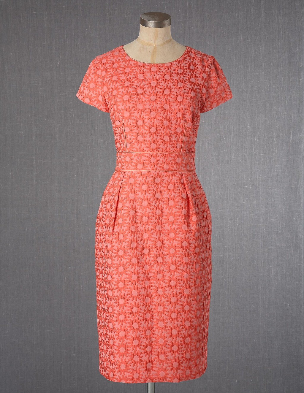 Daisy Jacquard Dress - style: shift; neckline: round neck; fit: tailored/fitted; secondary colour: ivory/cream; predominant colour: coral; occasions: casual; length: on the knee; fibres: polyester/polyamide - stretch; hip detail: adds bulk at the hips; sleeve length: short sleeve; sleeve style: standard; texture group: ornate wovens; pattern type: fabric; pattern size: light/subtle; pattern: florals; season: a/w 2013