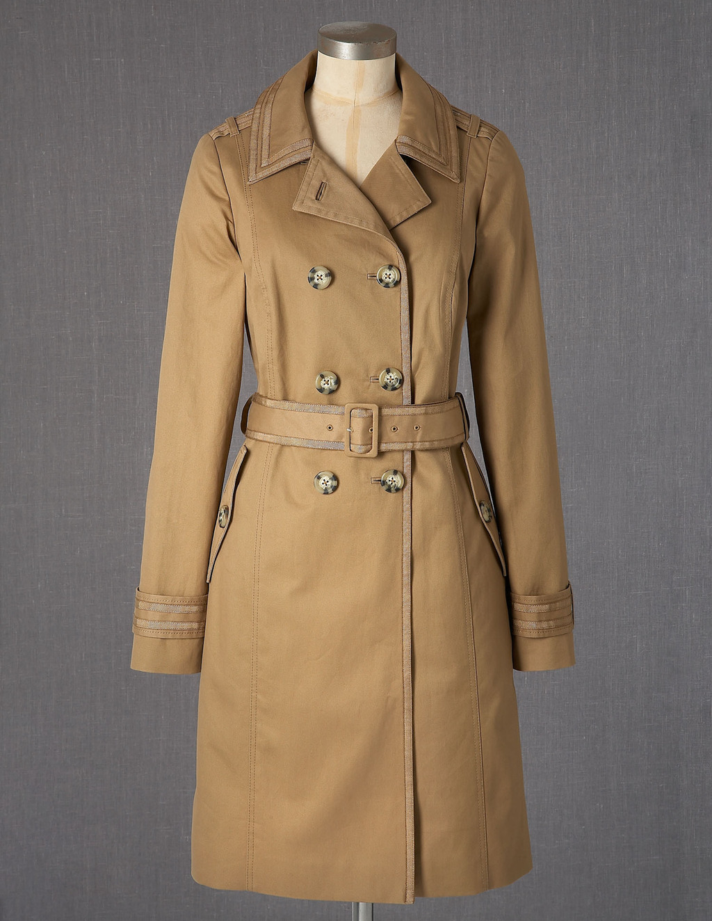 Autumn Trench - pattern: plain; style: trench coat; length: mid thigh; predominant colour: camel; fit: tailored/fitted; fibres: cotton - 100%; collar: shirt collar/peter pan/zip with opening; waist detail: belted waist/tie at waist/drawstring; shoulder detail: discreet epaulette; sleeve length: long sleeve; sleeve style: standard; texture group: cotton feel fabrics; pattern type: fabric; season: a/w 2013