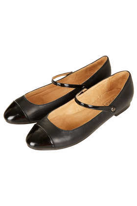 Mayleen Dolly Shoes - predominant colour: black; secondary colour: black; occasions: casual, evening, work; material: leather; heel height: flat; ankle detail: ankle strap; toe: round toe; style: ballerinas / pumps; finish: plain; pattern: plain; embellishment: toe cap; season: s/s 2013