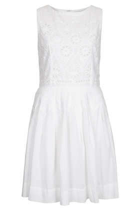 Tall Broderie Bodice Sundress - pattern: plain; sleeve style: sleeveless; style: sundress; predominant colour: white; occasions: casual, evening, holiday; length: just above the knee; fit: fitted at waist & bust; fibres: cotton - 100%; neckline: crew; sleeve length: sleeveless; texture group: cotton feel fabrics; trends: volume; pattern type: fabric; season: s/s 2013