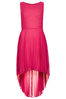 Pleat Dip Hem Dress - neckline: round neck; pattern: plain; sleeve style: sleeveless; waist detail: flattering waist detail; predominant colour: hot pink; occasions: evening, occasion; length: just above the knee; fit: fitted at waist & bust; style: asymmetric (hem); fibres: polyester/polyamide - 100%; hip detail: subtle/flattering hip detail; back detail: longer hem at back than at front; sleeve length: sleeveless; texture group: sheer fabrics/chiffon/organza etc.; trends: volume; pattern type: fabric; season: s/s 2013