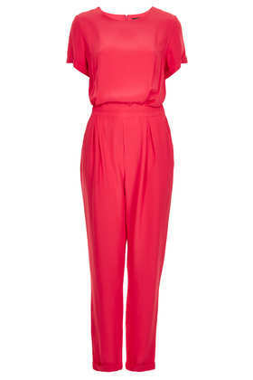 T Shirt Jumpsuit - length: standard; neckline: round neck; sleeve style: angel/waterfall; fit: fitted at waist; pattern: plain; waist detail: elasticated waist; bust detail: subtle bust detail; predominant colour: pink; occasions: casual, evening, holiday; jeans & bottoms detail: turn ups; sleeve length: short sleeve; style: jumpsuit; pattern type: fabric; texture group: jersey - stretchy/drapey; fibres: viscose/rayon - mix; season: s/s 2013; wardrobe: highlight