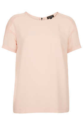 Sheer Panel Seam Tee - neckline: round neck; sleeve style: dolman/batwing; pattern: plain; style: t-shirt; shoulder detail: contrast pattern/fabric at shoulder; secondary colour: blush; predominant colour: nude; occasions: casual, evening, work, holiday; length: standard; fibres: polyester/polyamide - 100%; fit: body skimming; back detail: embellishment at back; sleeve length: short sleeve; texture group: silky - light; pattern type: fabric; season: s/s 2013