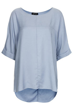 Casual Seam Detail Tee - neckline: round neck; sleeve style: dolman/batwing; pattern: plain; style: t-shirt; waist detail: flattering waist detail; predominant colour: pale blue; occasions: casual, holiday; length: standard; fibres: polyester/polyamide - 100%; fit: straight cut; back detail: longer hem at back than at front; sleeve length: half sleeve; pattern type: fabric; texture group: jersey - stretchy/drapey; season: s/s 2013; wardrobe: highlight