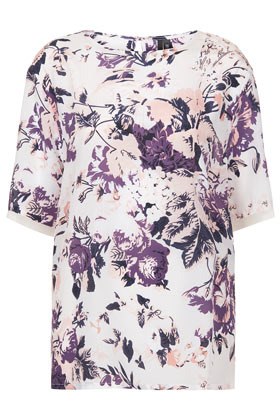 Silk Floral Tee Boutique - neckline: round neck; length: below the bottom; style: t-shirt; waist detail: flattering waist detail; predominant colour: white; secondary colour: purple; occasions: casual, evening, work, holiday; fibres: silk - 100%; fit: straight cut; hip detail: subtle/flattering hip detail; back detail: keyhole/peephole detail at back; sleeve length: half sleeve; sleeve style: standard; texture group: silky - light; trends: high impact florals; pattern type: fabric; pattern size: standard; pattern: patterned/print; season: s/s 2013