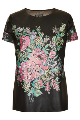 Flower Print Leather Look T Shirt - neckline: round neck; sleeve style: capped; bust detail: added detail/embellishment at bust; style: t-shirt; back detail: contrast pattern/fabric at back; secondary colour: pink; predominant colour: black; occasions: casual, evening, work; length: standard; fibres: polyester/polyamide - 100%; fit: body skimming; sleeve length: short sleeve; texture group: silky - light; trends: high impact florals; pattern type: fabric; pattern: florals; season: s/s 2013; pattern size: big & busy (top)
