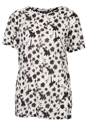 Tall Dark Floral Print Tee - style: t-shirt; predominant colour: white; secondary colour: black; occasions: casual, evening, work, holiday; length: standard; fibres: polyester/polyamide - 100%; fit: body skimming; neckline: crew; sleeve length: short sleeve; sleeve style: standard; texture group: silky - light; trends: high impact florals; pattern type: fabric; pattern size: light/subtle; pattern: florals; season: s/s 2013