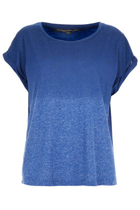 Tall Dip Dye Roll Back Tee - neckline: round neck; sleeve style: dolman/batwing; style: t-shirt; waist detail: twist front waist detail/nipped in at waist on one side/soft pleats/draping/ruching/gathering waist detail; predominant colour: royal blue; secondary colour: pale blue; occasions: casual, holiday; length: standard; fibres: linen - mix; fit: loose; hip detail: soft pleats at hip/draping at hip/flared at hip; sleeve length: short sleeve; texture group: cotton feel fabrics; pattern type: fabric; pattern size: standard; pattern: colourblock; season: s/s 2013