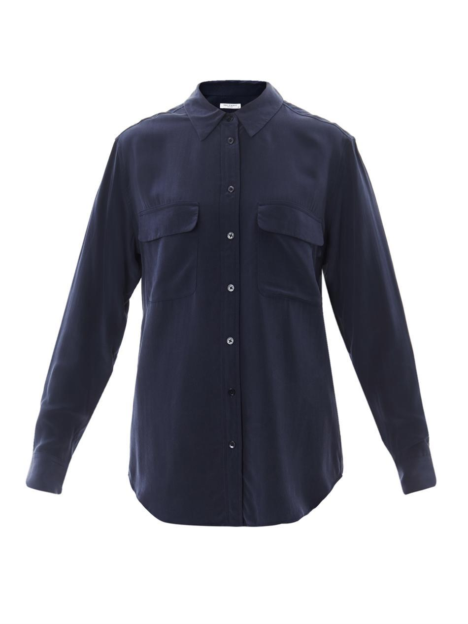 Signature Silk Shirt - neckline: shirt collar/peter pan/zip with opening; pattern: plain; length: below the bottom; style: shirt; predominant colour: navy; occasions: casual, work; fibres: silk - 100%; fit: straight cut; sleeve length: long sleeve; sleeve style: standard; texture group: silky - light; pattern type: fabric; season: s/s 2013