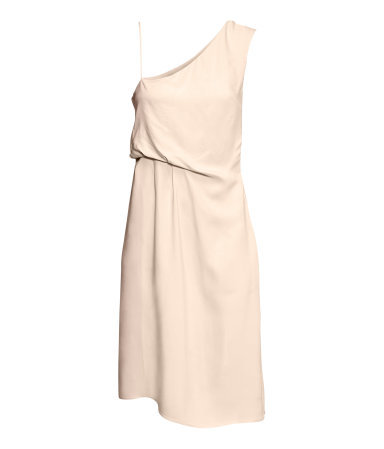 Draped Dress - fit: fitted at waist; pattern: plain; sleeve style: sleeveless; style: asymmetric (top); neckline: asymmetric; predominant colour: nude; occasions: evening, occasion; length: just above the knee; fibres: viscose/rayon - 100%; sleeve length: sleeveless; texture group: sheer fabrics/chiffon/organza etc.; season: s/s 2013
