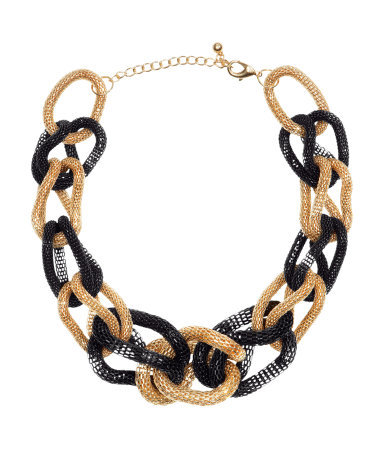 Necklace - predominant colour: gold; secondary colour: black; occasions: casual, evening, occasion, holiday; length: short; size: large/oversized; material: chain/metal; finish: metallic; style: bib/statement; season: s/s 2013