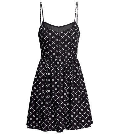 Short Patterned Dress - length: mid thigh; neckline: low v-neck; sleeve style: spaghetti straps; secondary colour: white; predominant colour: black; occasions: casual, evening, holiday; fit: fitted at waist & bust; style: fit & flare; fibres: viscose/rayon - 100%; hip detail: soft pleats at hip/draping at hip/flared at hip; sleeve length: sleeveless; texture group: cotton feel fabrics; pattern type: fabric; pattern size: light/subtle; pattern: patterned/print; season: s/s 2013