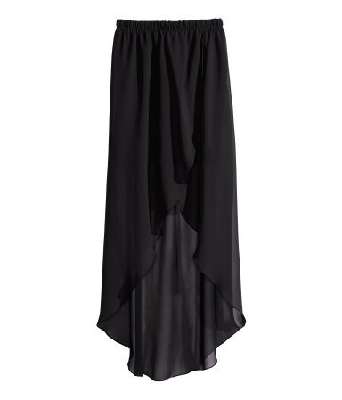 Wraparound Chiffon Skirt - pattern: plain; fit: loose/voluminous; waist detail: elasticated waist; waist: mid/regular rise; predominant colour: black; occasions: casual, evening, occasion; length: just above the knee; style: asymmetric (hem); fibres: polyester/polyamide - 100%; texture group: sheer fabrics/chiffon/organza etc.; pattern type: fabric; season: s/s 2013