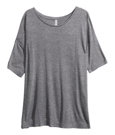 Oversized Top - neckline: round neck; pattern: plain; predominant colour: mid grey; occasions: casual, holiday; length: standard; style: top; fibres: viscose/rayon - 100%; fit: loose; sleeve length: short sleeve; sleeve style: standard; texture group: jersey - stretchy/drapey; season: s/s 2013