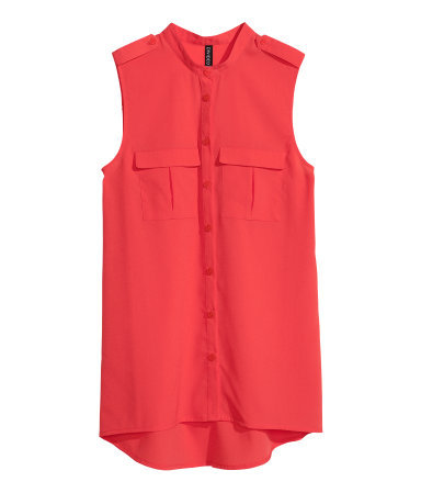Sleeveless Chiffon Blouse - pattern: plain; sleeve style: sleeveless; style: blouse; predominant colour: coral; occasions: casual, evening, work, holiday; length: standard; neckline: collarstand; fibres: polyester/polyamide - 100%; fit: straight cut; shoulder detail: discreet epaulette; sleeve length: sleeveless; texture group: sheer fabrics/chiffon/organza etc.; pattern type: fabric; season: s/s 2013