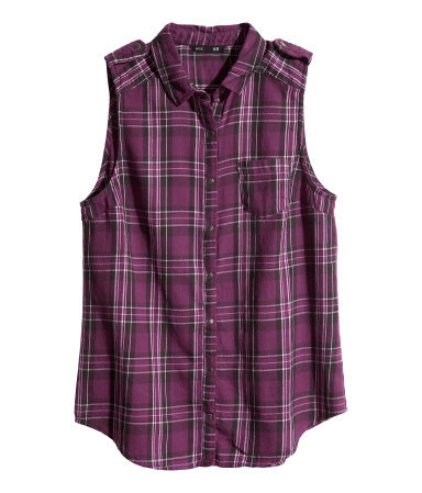 Sleeveless Flannel Shirt - neckline: shirt collar/peter pan/zip with opening; sleeve style: sleeveless; pattern: checked/gingham; style: shirt; predominant colour: magenta; secondary colour: black; occasions: casual, holiday; length: standard; fibres: cotton - 100%; fit: straight cut; sleeve length: sleeveless; texture group: cotton feel fabrics; pattern size: standard; season: s/s 2013