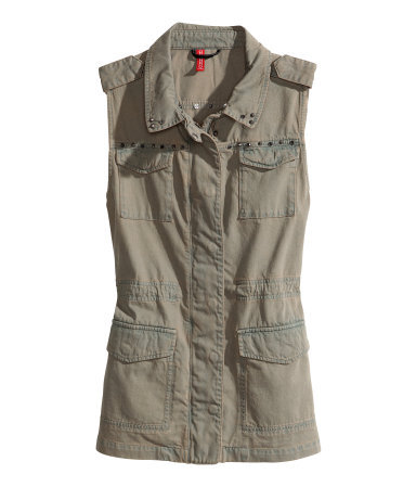 Denim Waistcoat With Rivets - pattern: plain; sleeve style: sleeveless; fit: slim fit; predominant colour: khaki; occasions: casual, holiday; length: standard; fibres: cotton - 100%; style: waistcoat; collar: shirt collar/peter pan/zip with opening; sleeve length: sleeveless; texture group: cotton feel fabrics; collar break: high/illusion of break when open; pattern type: fabric; embellishment: studs; season: s/s 2013; wardrobe: highlight; embellishment location: bust, neck