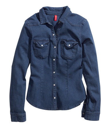 Figure Fit Denim Shirt - neckline: shirt collar/peter pan/zip with opening; pattern: plain; style: shirt; predominant colour: denim; occasions: casual; length: standard; fibres: cotton - stretch; fit: straight cut; sleeve length: long sleeve; sleeve style: standard; texture group: denim; pattern type: fabric; season: s/s 2013