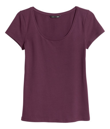 Short Sleeved Top - pattern: plain; predominant colour: aubergine; occasions: casual, work, holiday; length: standard; style: top; neckline: scoop; fibres: cotton - stretch; fit: body skimming; sleeve length: short sleeve; sleeve style: standard; texture group: jersey - stretchy/drapey; season: s/s 2013