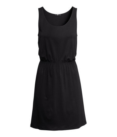 Sleeveless Jersey Dress - style: shift; length: mid thigh; sleeve style: standard vest straps/shoulder straps; fit: fitted at waist; pattern: plain; waist detail: fitted waist; predominant colour: black; occasions: casual, evening, holiday; neckline: scoop; fibres: viscose/rayon - stretch; sleeve length: sleeveless; texture group: jersey - stretchy/drapey; season: s/s 2013
