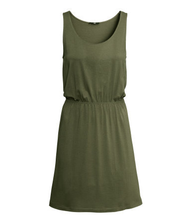 Sleeveless Jersey Dress - style: shift; length: mid thigh; fit: fitted at waist; pattern: plain; sleeve style: sleeveless; predominant colour: khaki; occasions: casual, holiday; neckline: scoop; fibres: polyester/polyamide - stretch; sleeve length: sleeveless; texture group: jersey - stretchy/drapey; season: s/s 2013