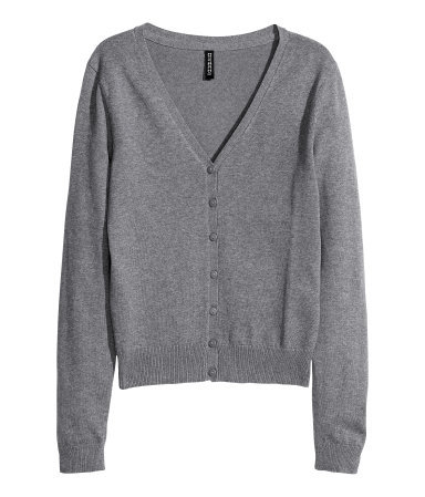 Fine Knit Cardigan - neckline: v-neck; pattern: plain; predominant colour: mid grey; occasions: casual, work; length: standard; style: standard; fibres: cotton - mix; fit: standard fit; sleeve length: long sleeve; sleeve style: standard; texture group: knits/crochet; season: s/s 2013