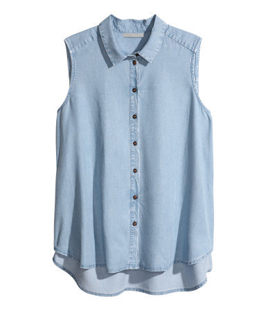 + Sleeveless Blouse - neckline: shirt collar/peter pan/zip with opening; pattern: plain; sleeve style: sleeveless; style: blouse; predominant colour: denim; occasions: casual, holiday; length: standard; fit: loose; sleeve length: sleeveless; texture group: cotton feel fabrics; fibres: viscose/rayon - mix; season: s/s 2013
