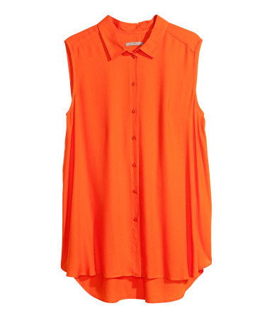+ Sleeveless Blouse - neckline: shirt collar/peter pan/zip with opening; pattern: plain; sleeve style: sleeveless; style: blouse; predominant colour: bright orange; occasions: casual, evening, work, holiday; length: standard; fibres: viscose/rayon - 100%; fit: loose; sleeve length: sleeveless; texture group: jersey - stretchy/drapey; season: s/s 2013