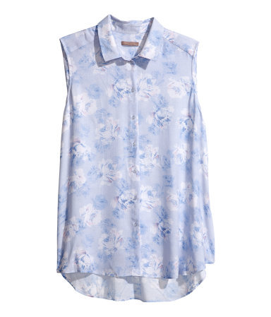 + Sleeveless Blouse - neckline: shirt collar/peter pan/zip with opening; sleeve style: sleeveless; style: blouse; secondary colour: white; predominant colour: pale blue; occasions: casual, work, holiday; length: standard; fibres: viscose/rayon - 100%; fit: straight cut; sleeve length: sleeveless; pattern type: fabric; pattern size: light/subtle; pattern: florals; texture group: jersey - stretchy/drapey; season: s/s 2013