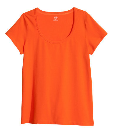 + Top - pattern: plain; predominant colour: bright orange; occasions: casual, holiday; length: standard; style: top; neckline: scoop; fibres: cotton - stretch; fit: body skimming; sleeve length: short sleeve; sleeve style: standard; texture group: jersey - stretchy/drapey; season: s/s 2013