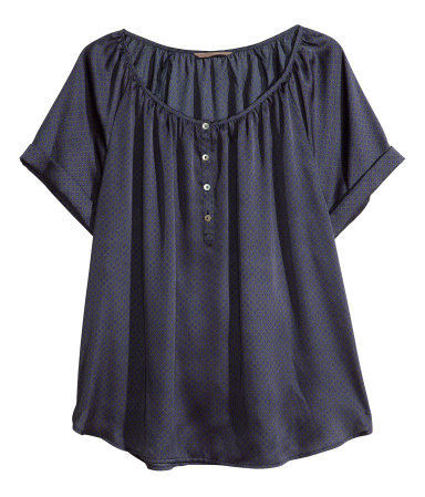 + Patterned Satin Blouse - pattern: plain; style: blouse; bust detail: buttons at bust (in middle at breastbone)/zip detail at bust; predominant colour: navy; occasions: casual, work, holiday; length: standard; neckline: scoop; fibres: polyester/polyamide - 100%; fit: loose; sleeve length: short sleeve; sleeve style: standard; texture group: silky - light; pattern type: fabric; pattern size: light/subtle; season: s/s 2013