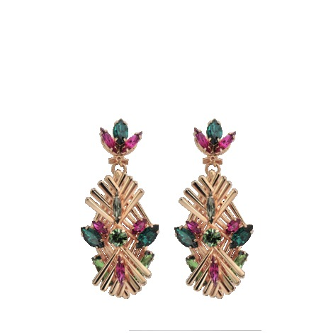 Art Deco Crystal Drop Earrings - secondary colour: dark green; predominant colour: gold; occasions: evening, occasion; style: drop; length: long; size: large/oversized; material: chain/metal; fastening: pierced; trends: metallics; finish: metallic; embellishment: jewels/stone; season: s/s 2013