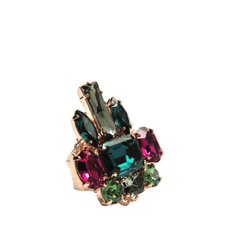 Crystal Cluster Ring - occasions: evening, occasion; predominant colour: multicoloured; style: cocktail; size: large/oversized; material: chain/metal; finish: plain; embellishment: jewels/stone; season: s/s 2013; multicoloured: multicoloured