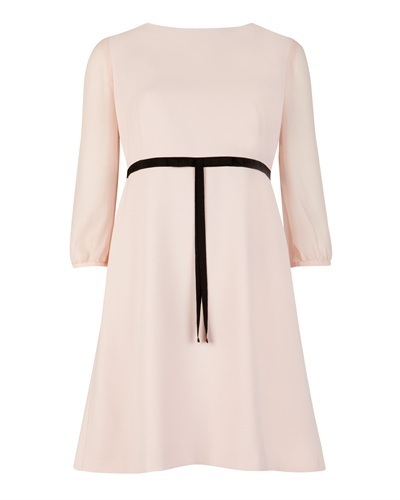 Ted Baker Daris Tie Waist Dress - style: shift; pattern: plain; waist detail: belted waist/tie at waist/drawstring; predominant colour: blush; secondary colour: black; occasions: evening, occasion; length: just above the knee; fit: soft a-line; fibres: polyester/polyamide - stretch; neckline: crew; sleeve length: 3/4 length; sleeve style: standard; pattern type: fabric; texture group: other - light to midweight; season: s/s 2013