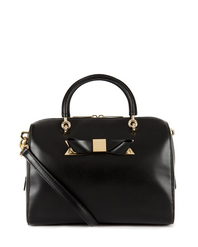 Ted Baker Cantico Metal Bow Bowler Bag - secondary colour: gold; predominant colour: black; occasions: work, creative work; type of pattern: standard; style: bowling; length: handle; size: standard; material: leather; pattern: plain; finish: plain; embellishment: bow; season: s/s 2013