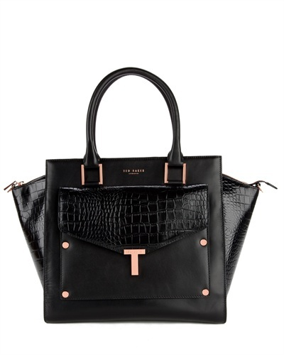 Ted Baker Baillie T Tote And Clutch Bag - secondary colour: gold; predominant colour: black; occasions: casual, work; type of pattern: standard; style: tote; length: handle; size: standard; material: leather; pattern: plain; finish: plain; season: s/s 2013