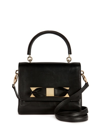 Ted Baker Camotes Across Body Bow Bag - secondary colour: gold; predominant colour: black; occasions: casual, creative work; type of pattern: standard; style: shoulder; length: shoulder (tucks under arm); size: small; material: leather; pattern: plain; finish: plain; embellishment: bow; season: s/s 2013