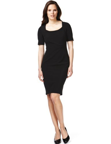 M&S Collection Drop A Dress Size Panelled Bodycon Dress With Secret Support™ - style: shift; pattern: plain; predominant colour: black; occasions: evening, work, occasion; length: just above the knee; fit: body skimming; neckline: scoop; fibres: polyester/polyamide - stretch; sleeve length: short sleeve; sleeve style: standard; pattern type: fabric; texture group: tweed - light/midweight; brand specific: secret support; season: s/s 2013