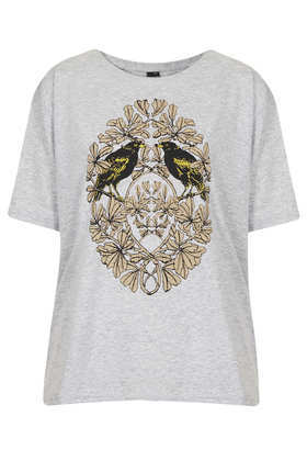 Bird Crest Tee Boutique - style: t-shirt; secondary colour: camel; predominant colour: light grey; occasions: casual; length: standard; fibres: cotton - 100%; fit: loose; neckline: crew; sleeve length: half sleeve; sleeve style: standard; trends: statement prints; pattern type: fabric; pattern: patterned/print; texture group: jersey - stretchy/drapey; season: s/s 2013; pattern size: big & busy (top)