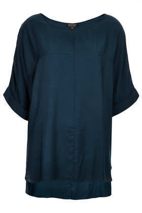 Casual Seam Detail Tee - sleeve style: dolman/batwing; pattern: plain; length: below the bottom; style: t-shirt; predominant colour: navy; occasions: casual; neckline: scoop; fibres: viscose/rayon - 100%; fit: loose; back detail: longer hem at back than at front; sleeve length: half sleeve; texture group: cotton feel fabrics; trends: volume; pattern type: fabric; season: s/s 2013