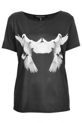 Tall Photo Dove Tee - neckline: round neck; style: t-shirt; secondary colour: white; predominant colour: black; occasions: casual, evening; length: standard; fibres: polyester/polyamide - 100%; fit: loose; sleeve length: short sleeve; sleeve style: standard; trends: statement prints; pattern type: fabric; pattern: patterned/print; texture group: jersey - stretchy/drapey; season: s/s 2013; pattern size: big & busy (top)