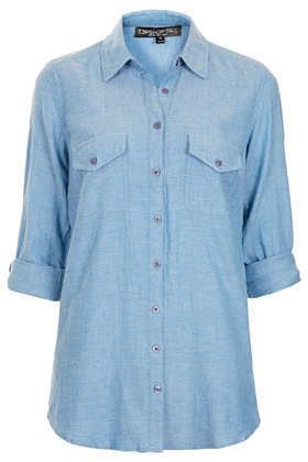 Tall Chambray Shirt - neckline: shirt collar/peter pan/zip with opening; pattern: plain; style: shirt; predominant colour: pale blue; occasions: casual; length: standard; fibres: cotton - 100%; fit: straight cut; sleeve length: 3/4 length; sleeve style: standard; texture group: cotton feel fabrics; pattern type: fabric; season: s/s 2013
